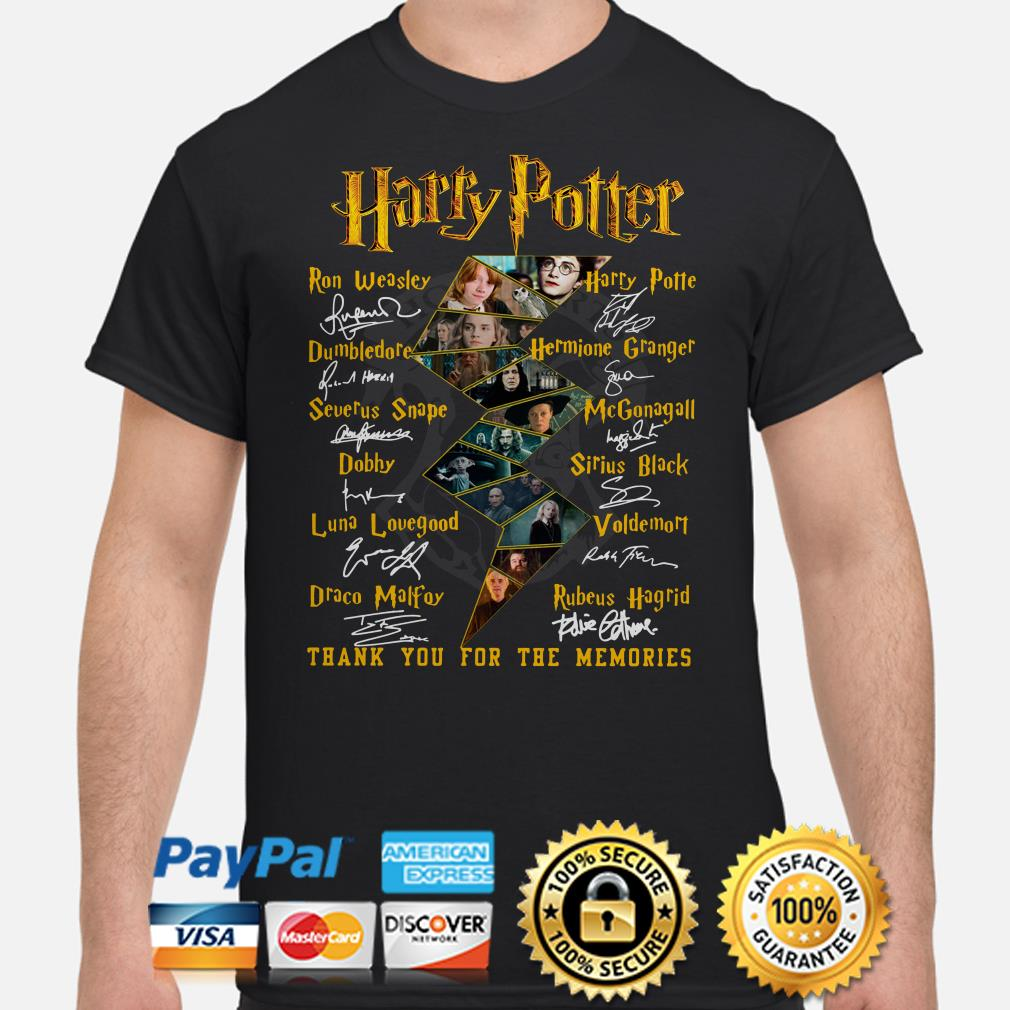 Harry Potter Characters signature thank you for the memories shirt