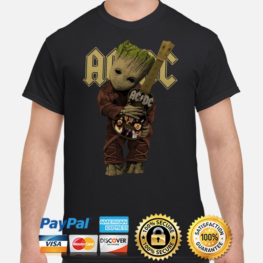 Baby Groot hug AC DC guitar shirt