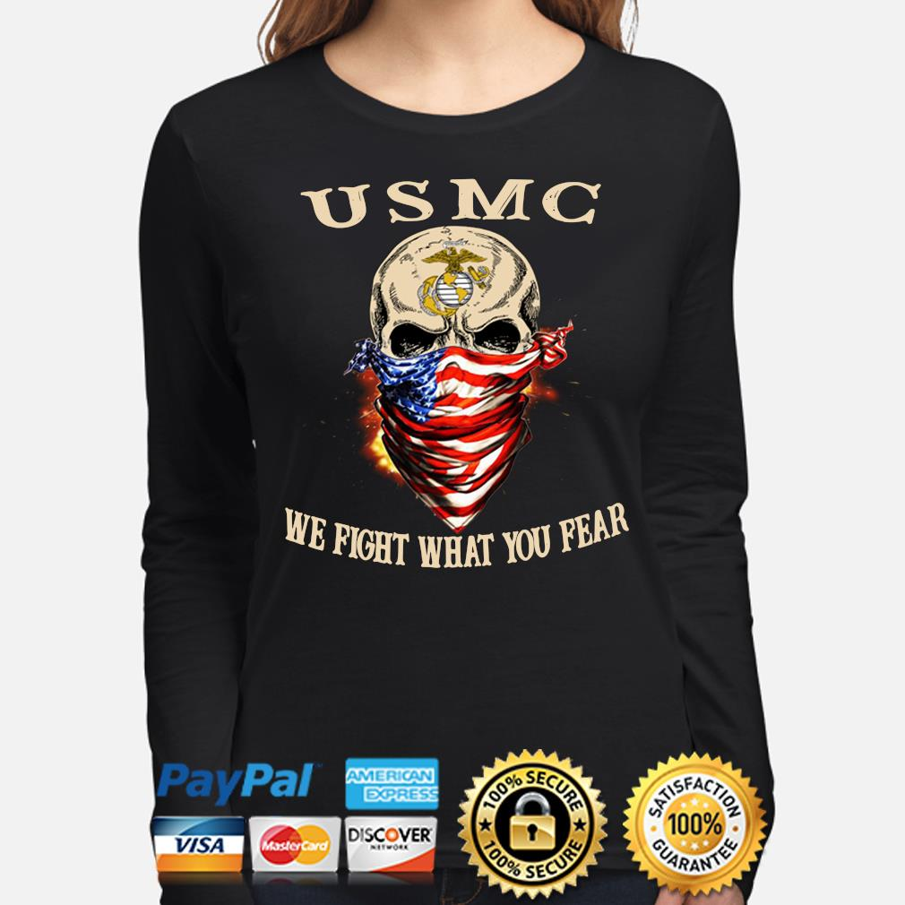 Skull mask USMC Me fight what you fear s long-sleeve