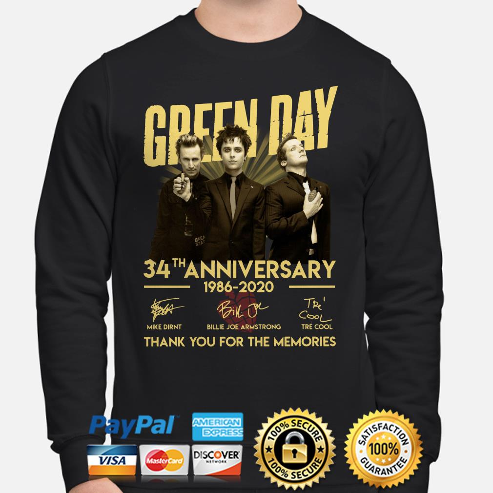 Green Day 34th Anniversary thank you for the memories signature Sweater