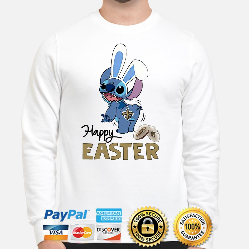 Bunny Stitch New Orlean Saints happy Easter Sweater