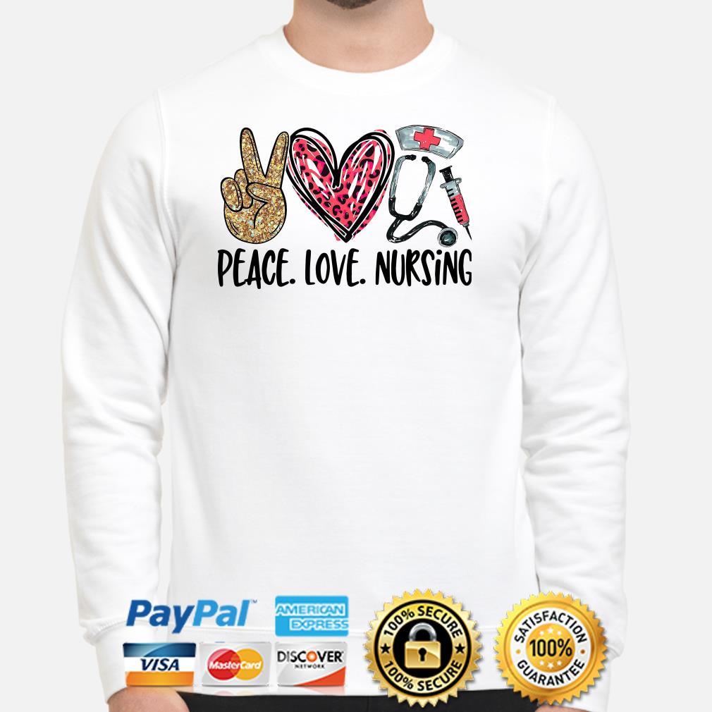 Peace love Nursing Diamonds heart Sweater