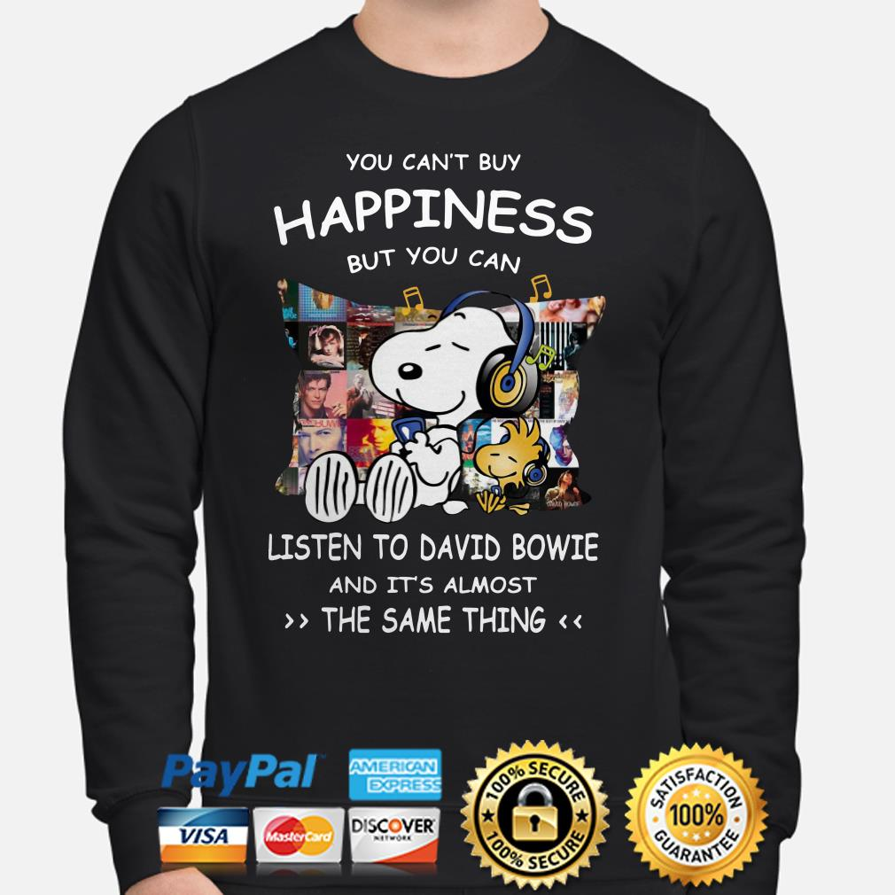 Snoopy you can't buy happiness but you can listen to David Bowie Sweater