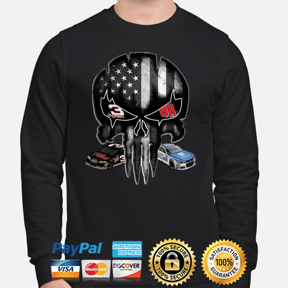 Austin Dillon and Alex Bowman signature Punisher American flag Sweater