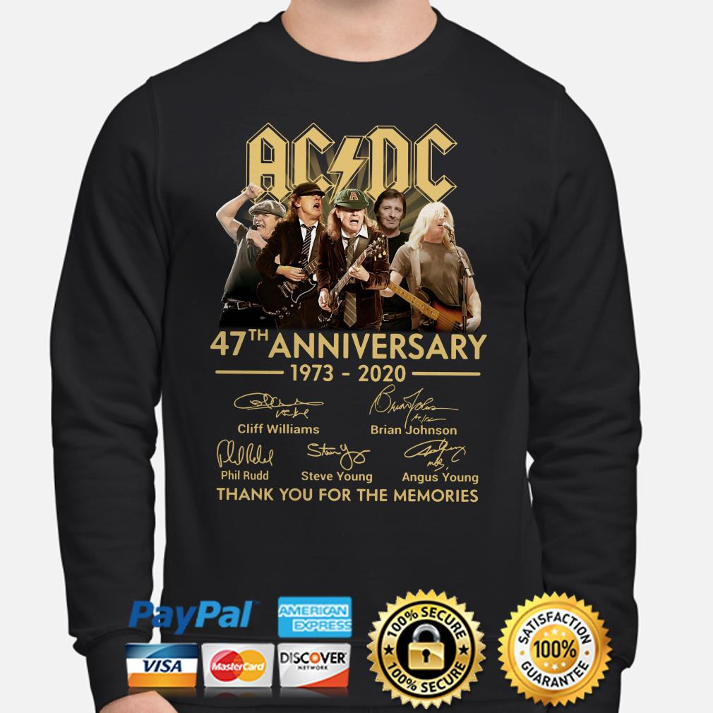 AC DC 47th anniversary thank you for the memories signature Sweater