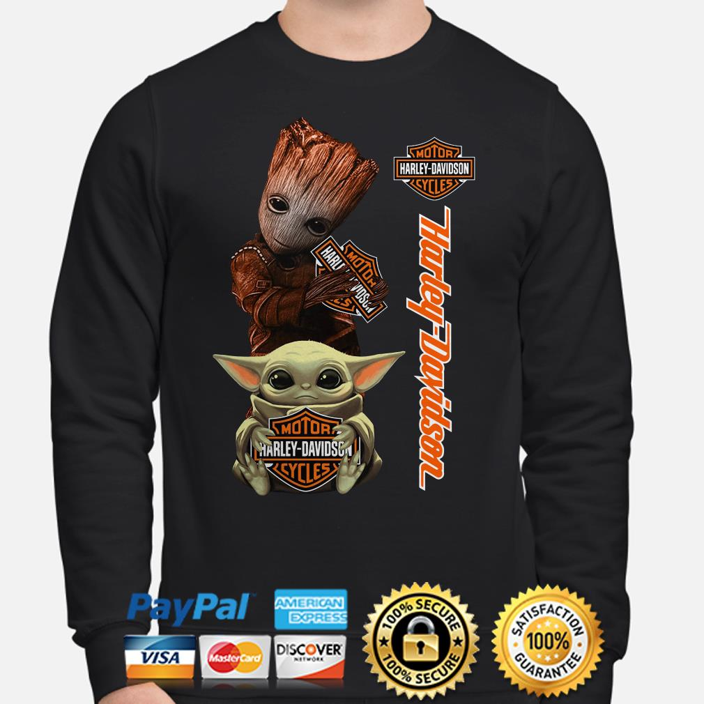 Baby Groot and Baby Yoda hug Motor Harley Davidson Sweater