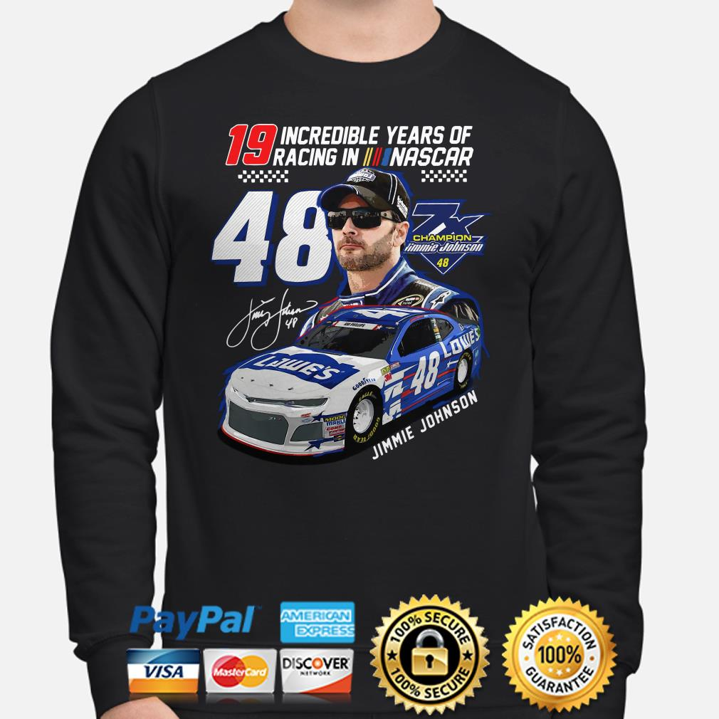 19 incredible years of racing in Nascar Jimmie Johnson signature Sweater