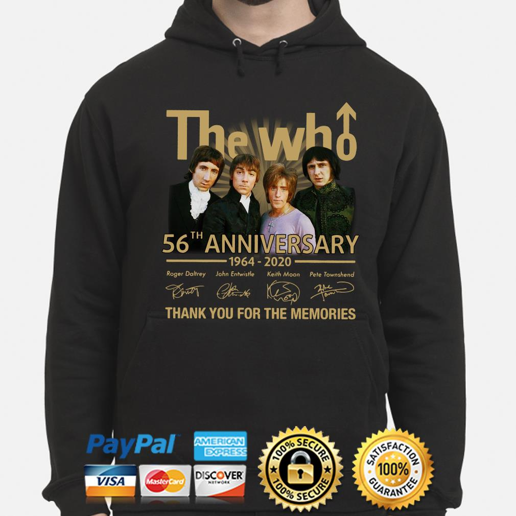 The Who 56th anniversary thank you for the memories signature s hoodie