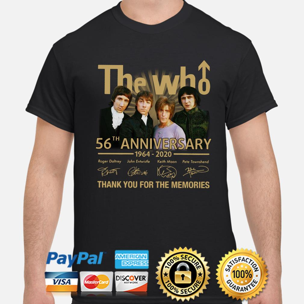 The Who 56th anniversary thank you for the memories signature shirt