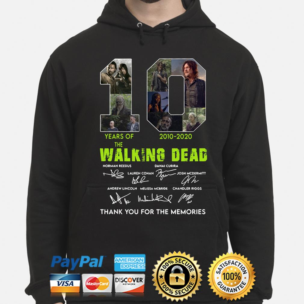10 years of The Walking Dead thank you for the memories signature s hoodie