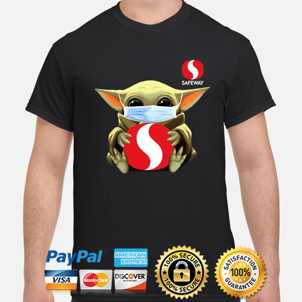 Baby Yoda face mask hug Safeway shirt