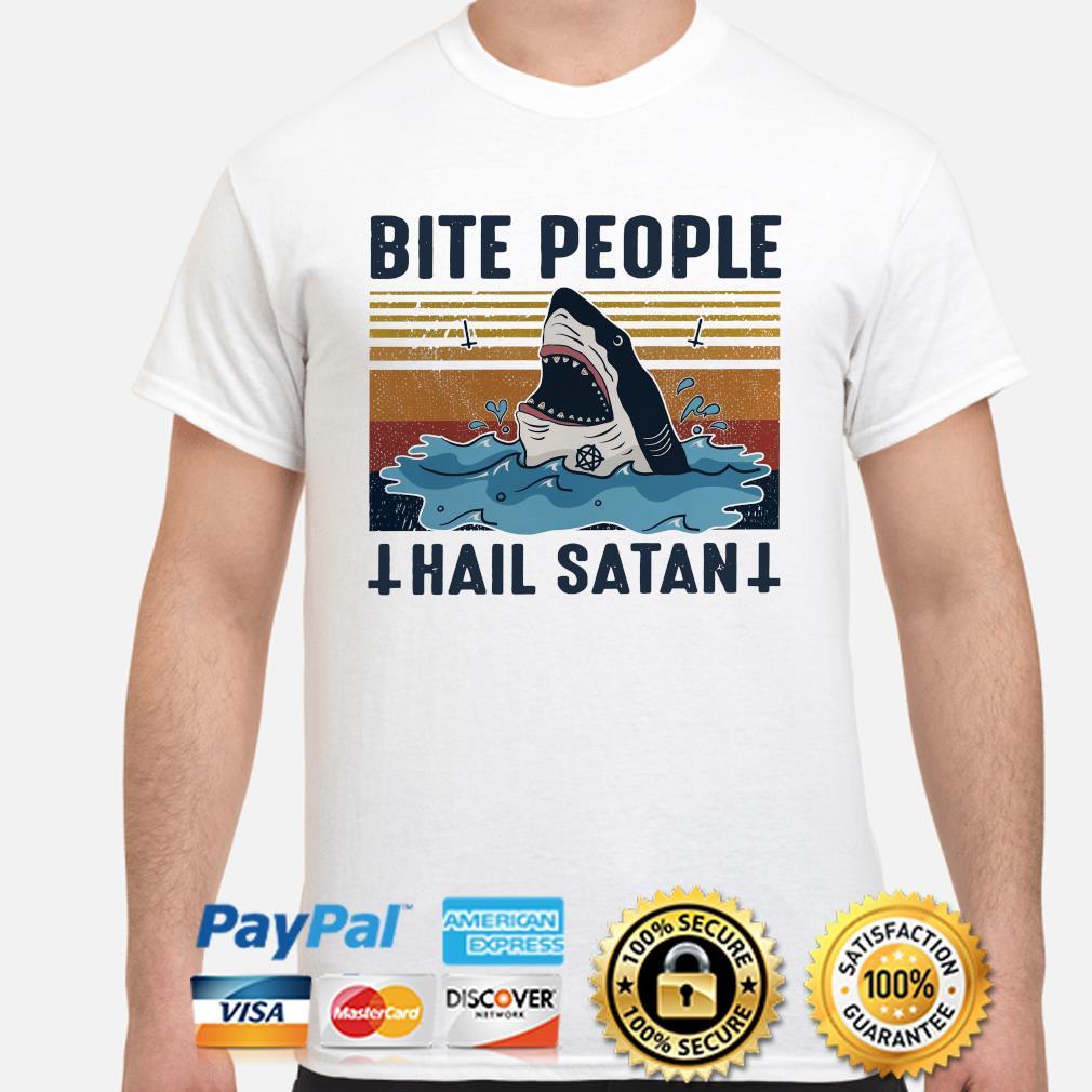 Shark Bite People Hail Satan Tshirt