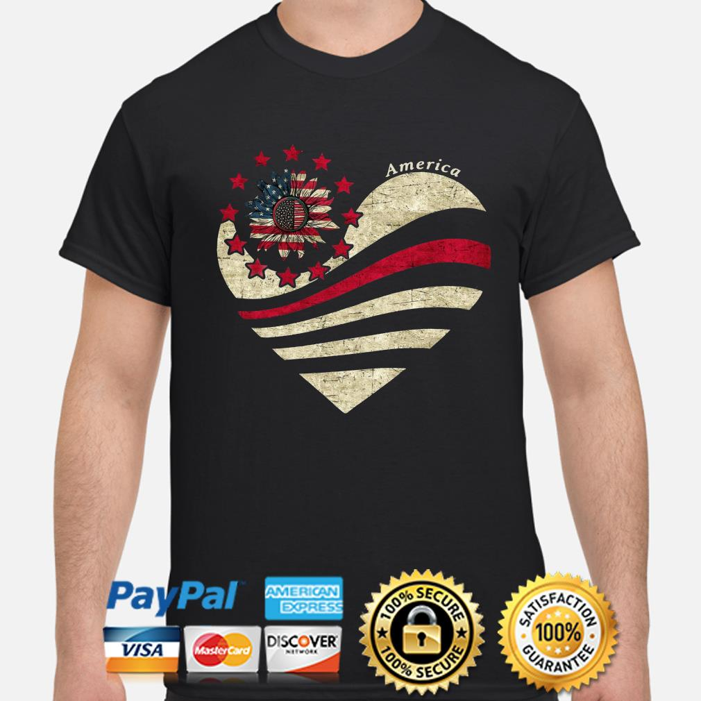 American Thin Red line Flag Sunflower heart shirt