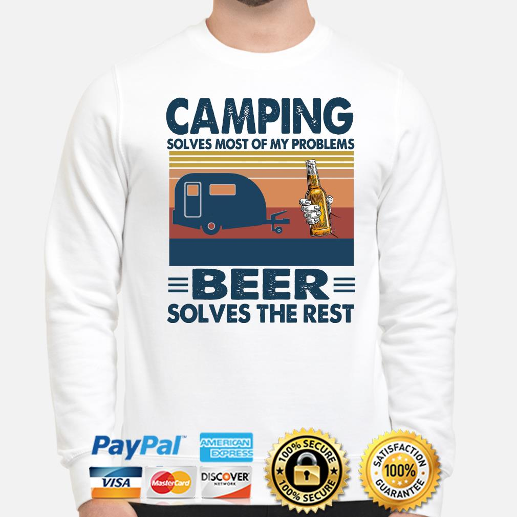 Camping solves most of my problems Beer solves the rest vintage s sweater
