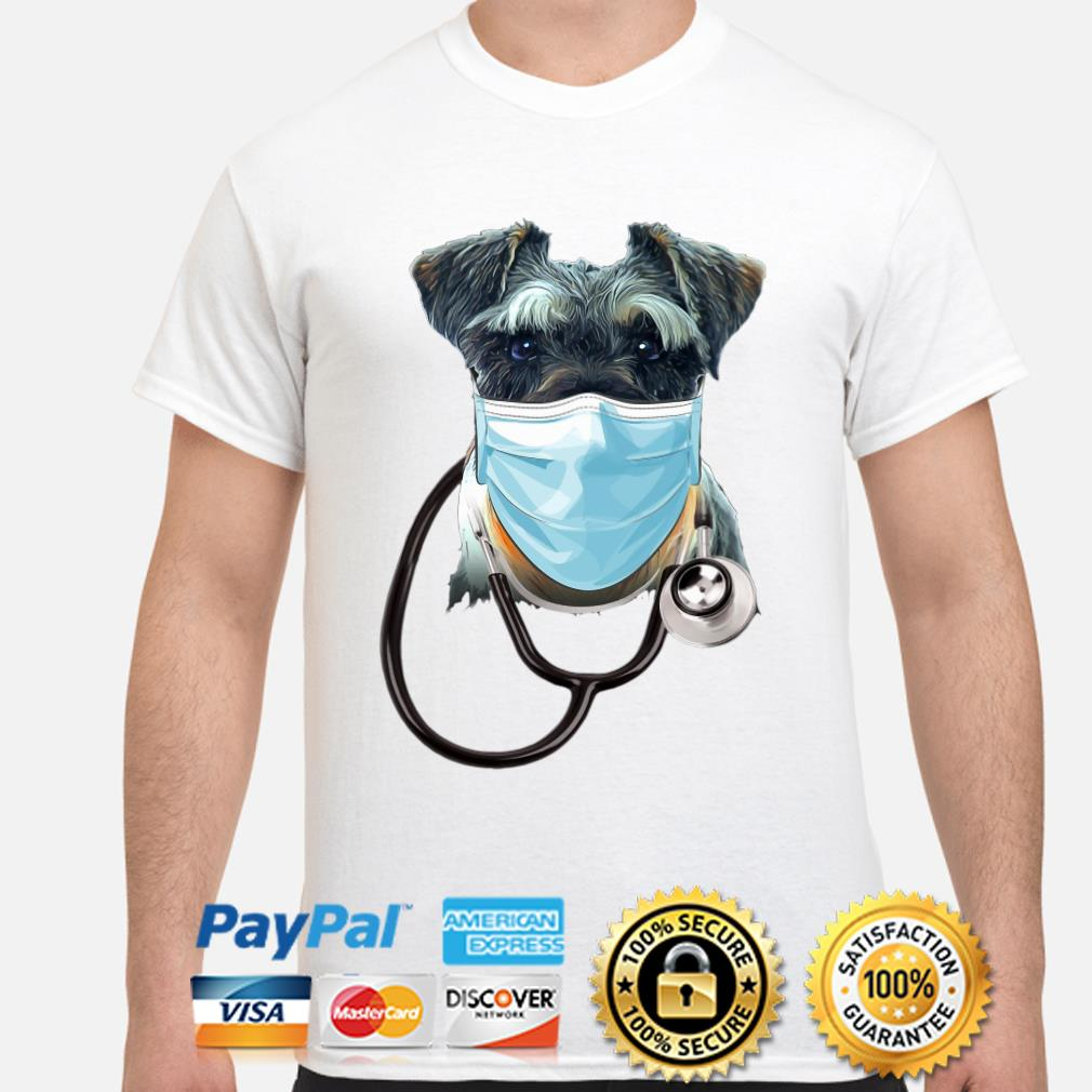 Doctor Schnauzer face mask stethoscope shirt