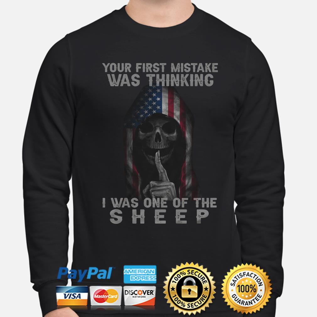 Skull American flag your first mistake was thinking I was one of the Sheep s sweater