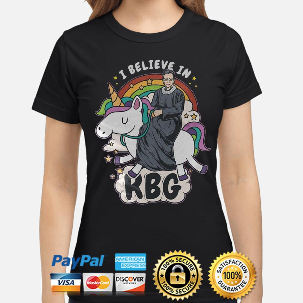 Unicorn I believe in Notorious RBG s ladies-shirt