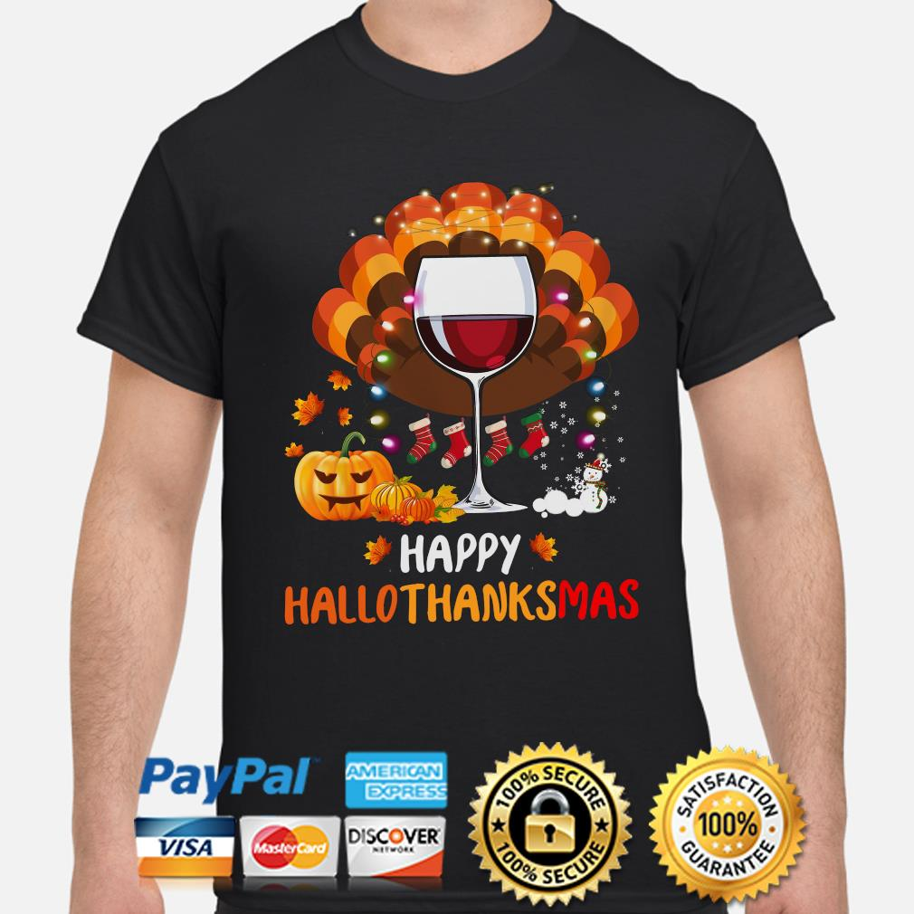 Wine Happy Hallothanksmas Halloween shirt