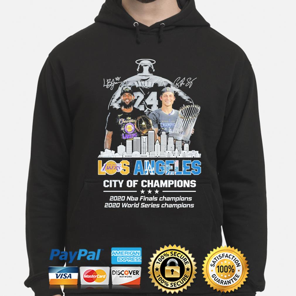 Dodgers LeBron James and Corey Seager Los Angeles Lakers And Los Angeles Dodgers city of Champions signatures s hoodie