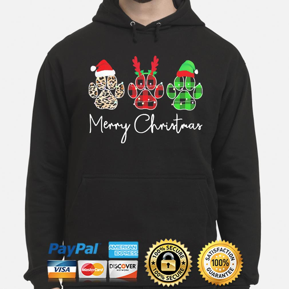 Dogs Paw Merry Christmas Sweater hoodie