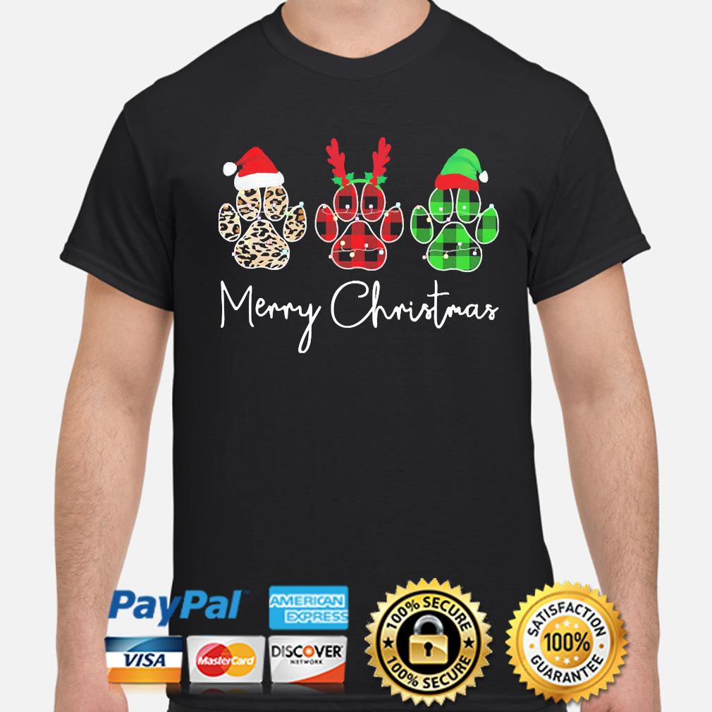 Dogs Paw Merry Christmas Sweater