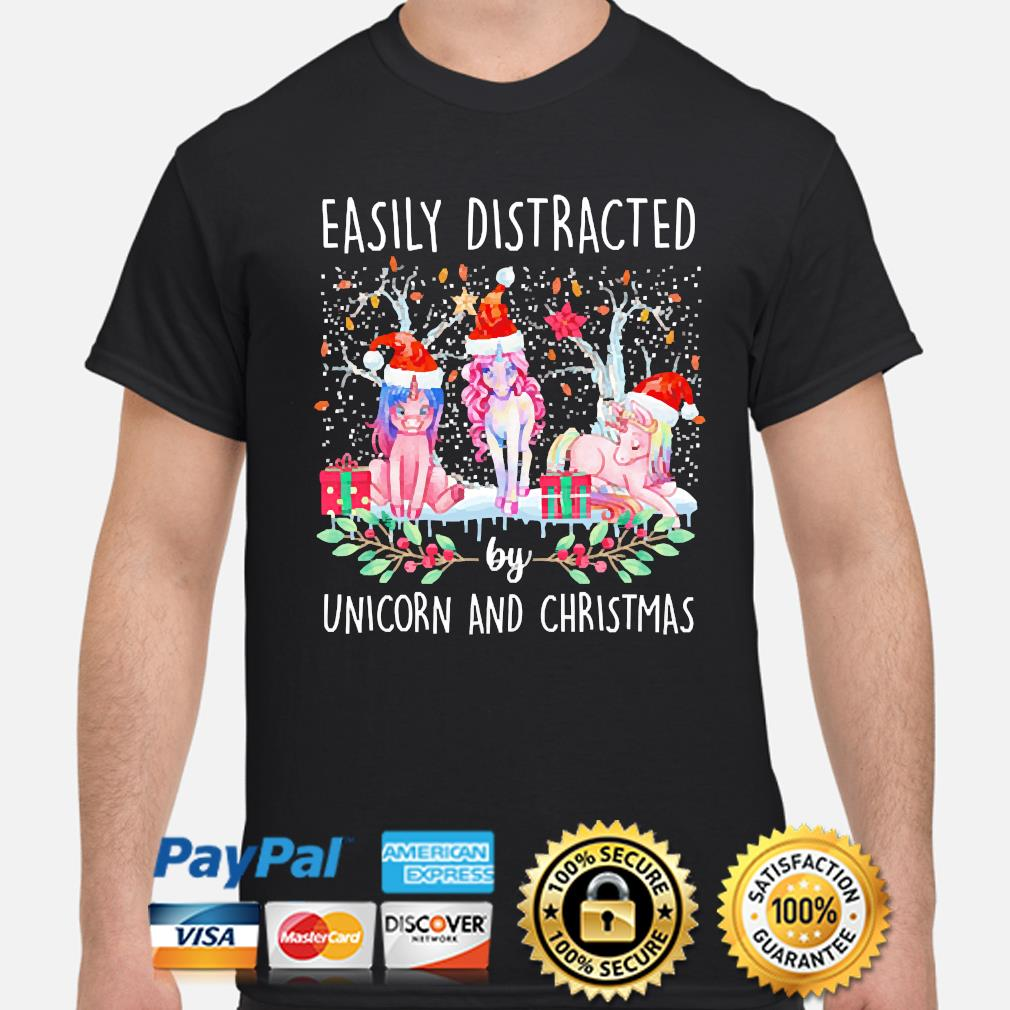 Easily distracted by Unicorns and christmas Sweater