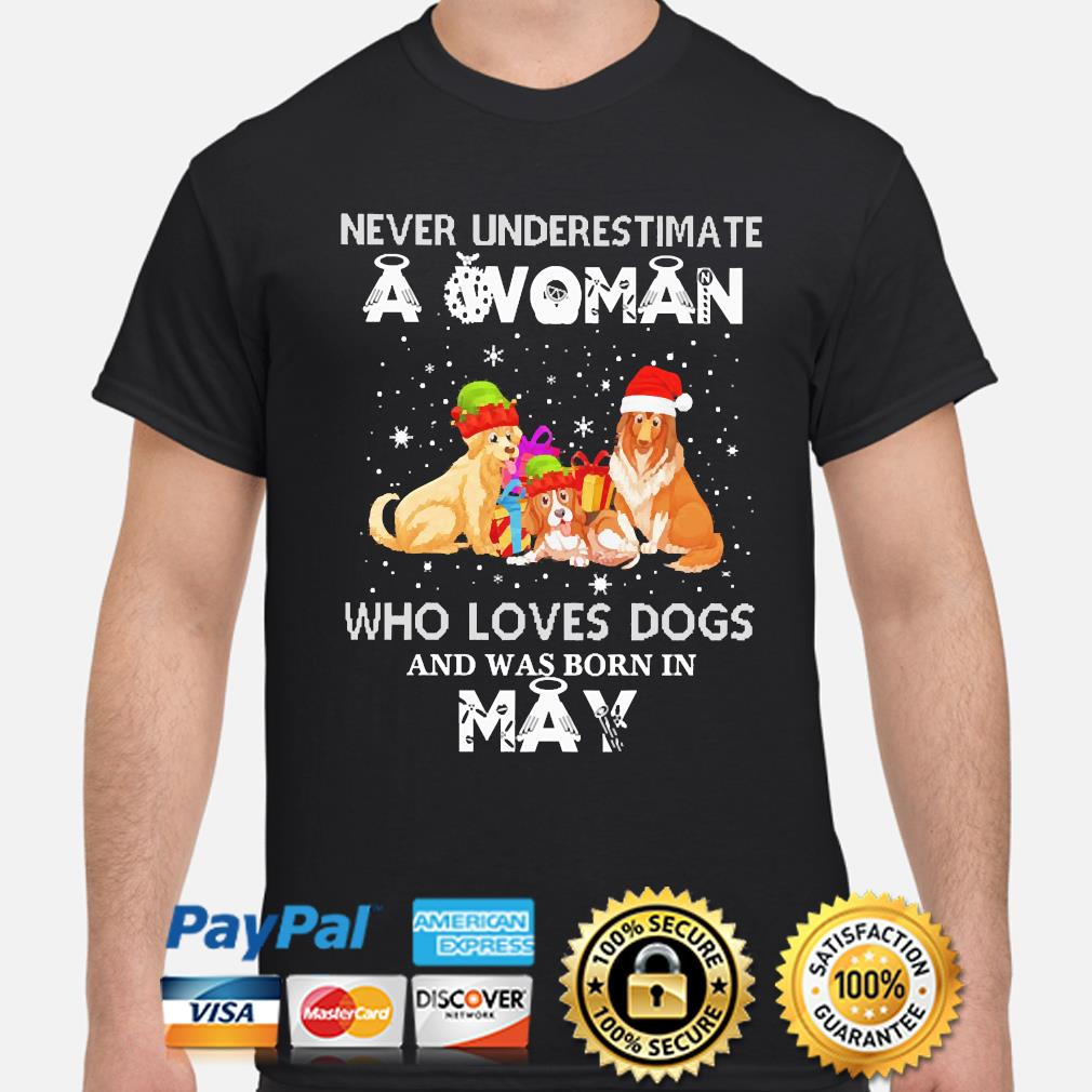 Never underestimate a woman who loves Dogs and was born in May Christmas sweater