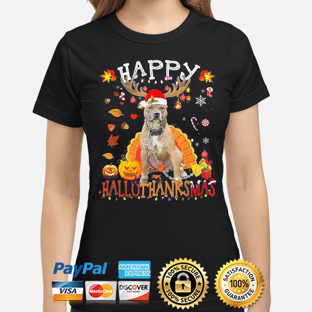 Pitbull Happy Hallothanksmas Halloween s ladies-shirt