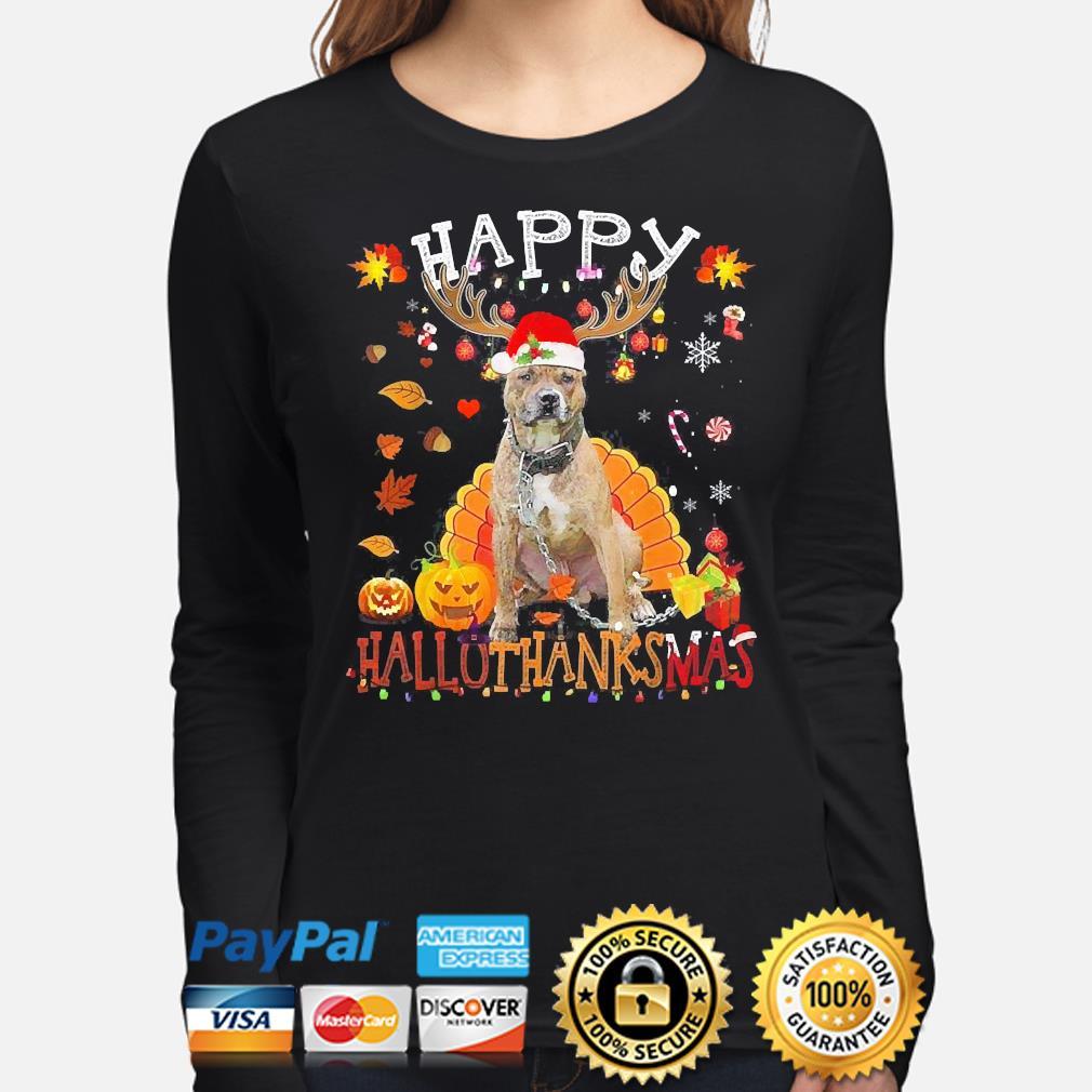 Pitbull Happy Hallothanksmas Halloween s long-sleeve