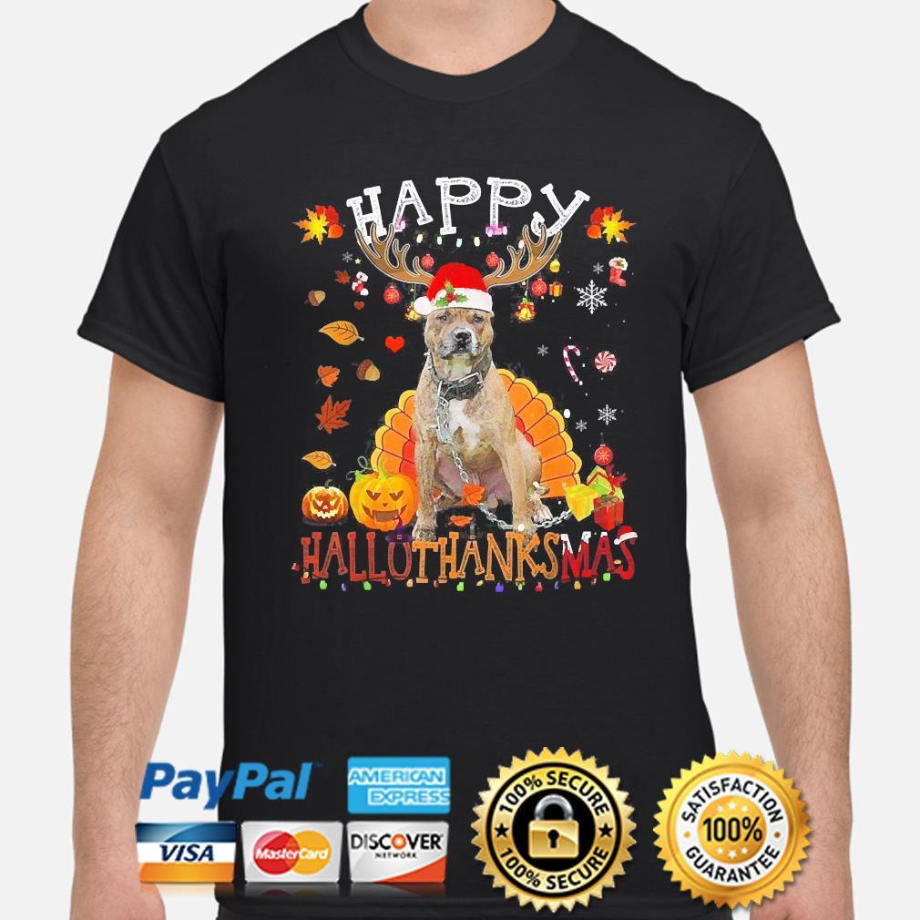 Pitbull Happy Hallothanksmas Halloween shirt