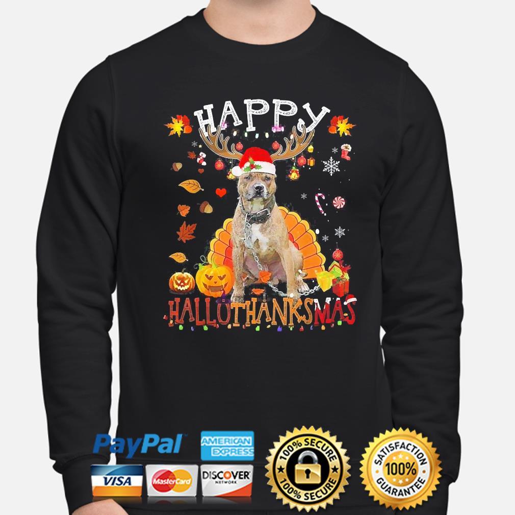 Pitbull Happy Hallothanksmas Halloween s sweater