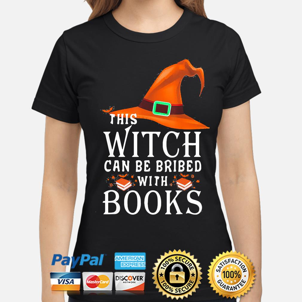 This Witch can be bribed with Books Halloween s ladies-shirt