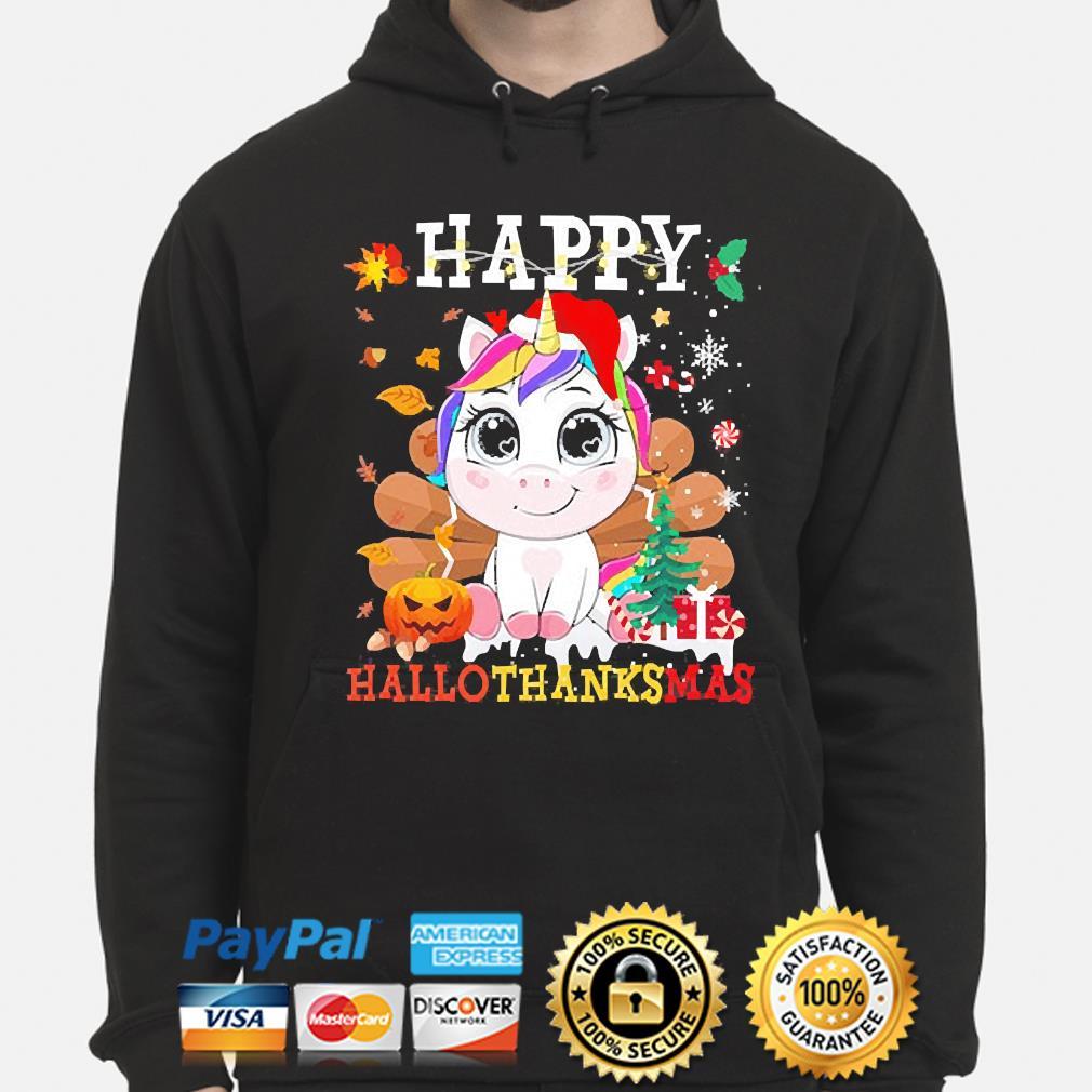 Unicorn Happy Hallothanksmas Christmas sweater hoodie