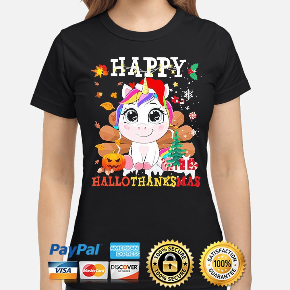 Unicorn Happy Hallothanksmas Christmas sweater ladies-shirt