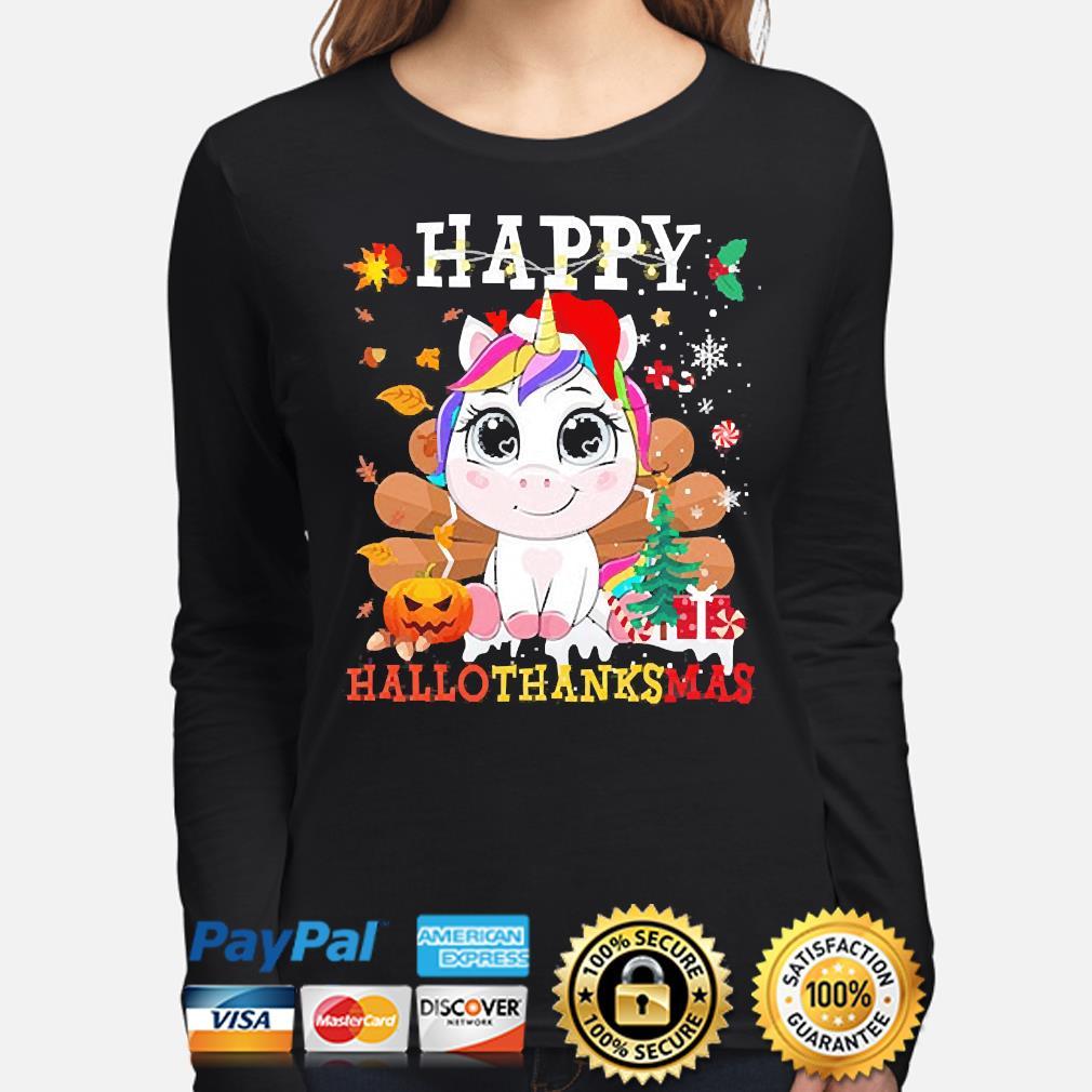 Unicorn Happy Hallothanksmas Christmas sweater long-sleeve