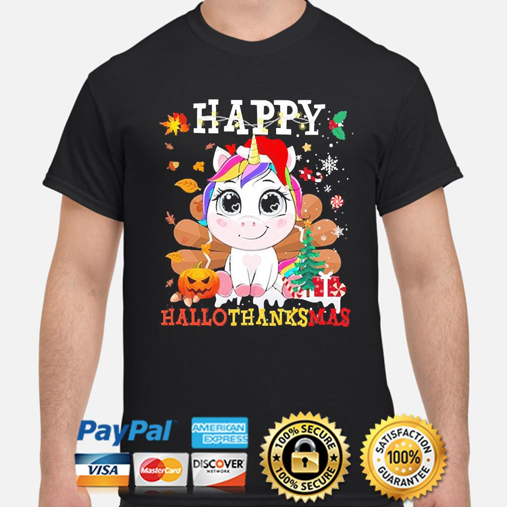 Unicorn Happy Hallothanksmas Christmas sweater