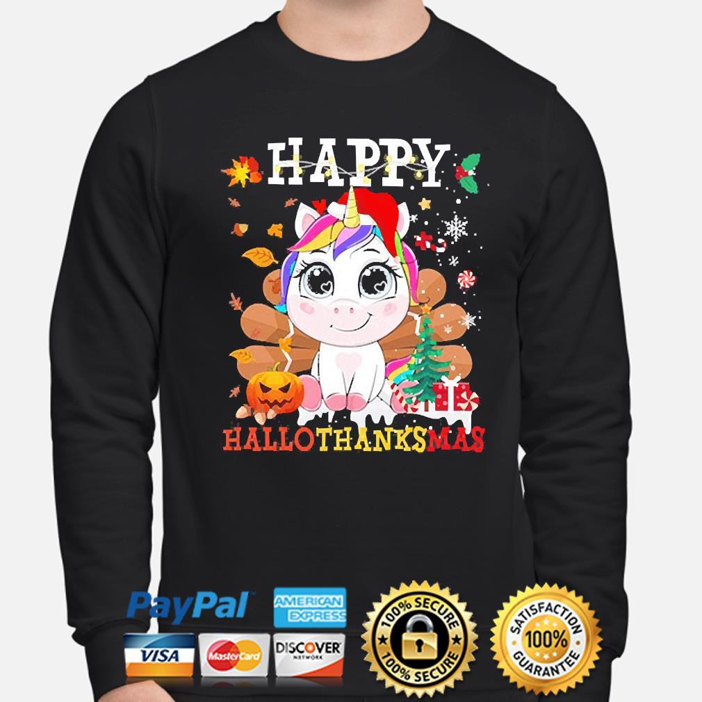Unicorn Happy Hallothanksmas Christmas sweater sweater
