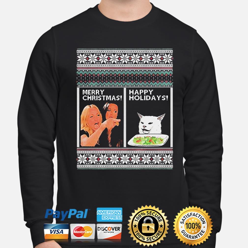 Woman Yelling at a Cat Merry Christmas or Happy Holiday Ugly Sweaters sweater