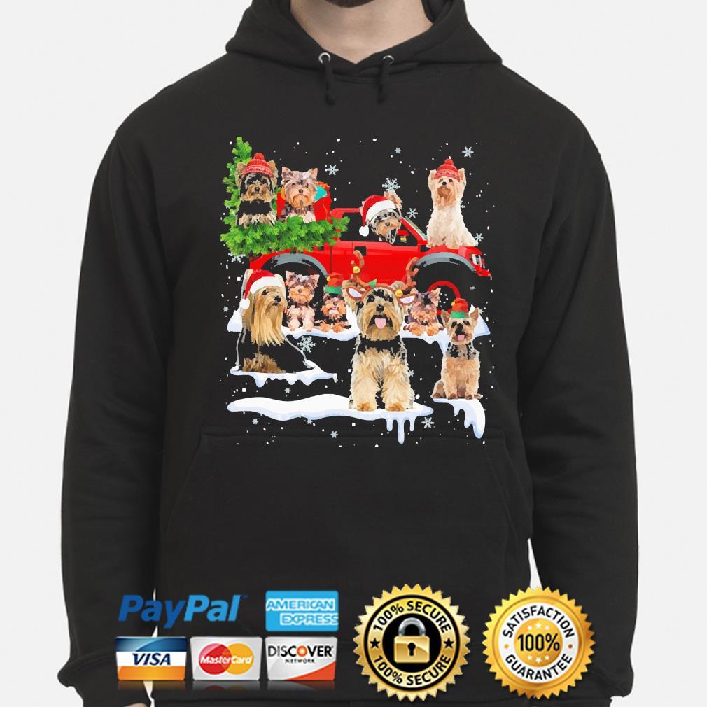 Yorkshire Terriers Dog Santa Merry Christmas sweater hoodie