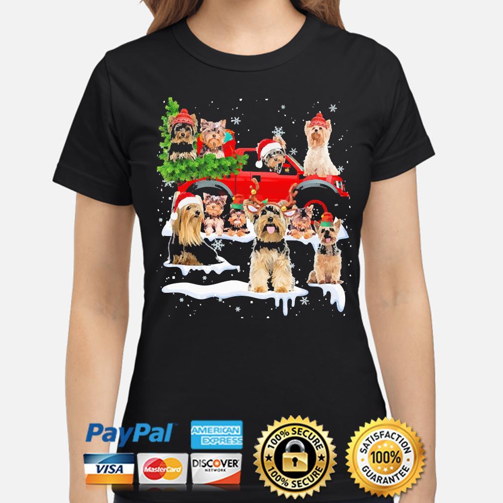 Yorkshire Terriers Dog Santa Merry Christmas sweater ladies-shirt