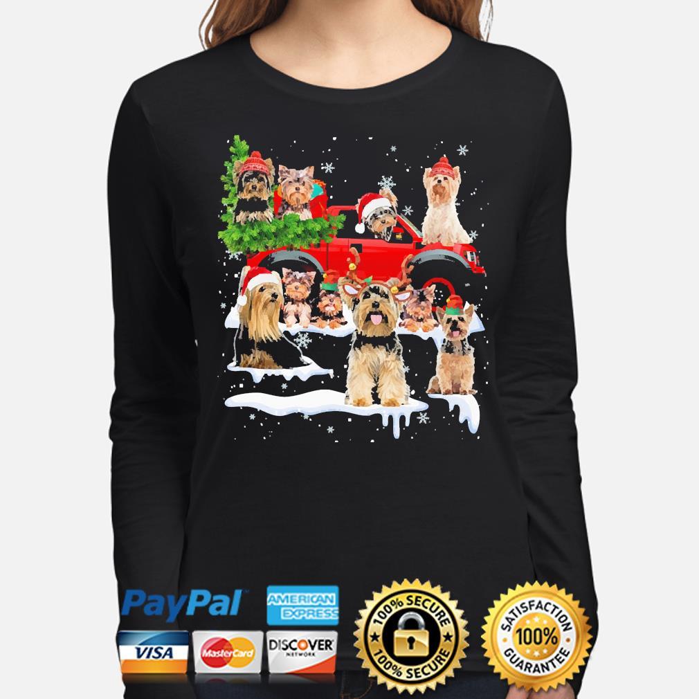 Yorkshire Terriers Dog Santa Merry Christmas sweater long-sleeve
