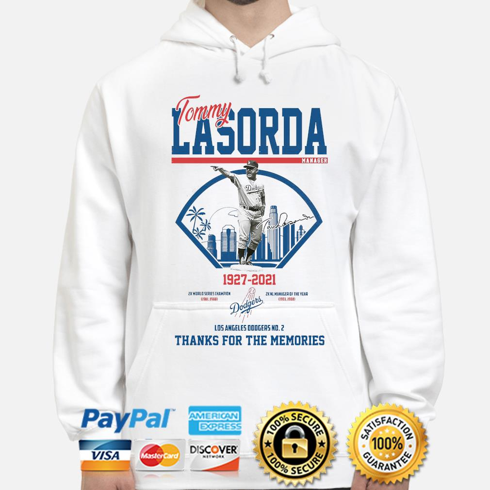 Los Angeles Dodgers Tommy Lasorda manager 1927-2021 thank you for the memories signature s hoodie