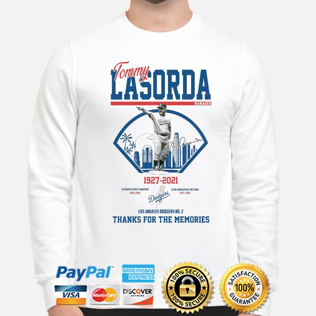Los Angeles Dodgers Tommy Lasorda manager 1927-2021 thank you for the memories signature shirt