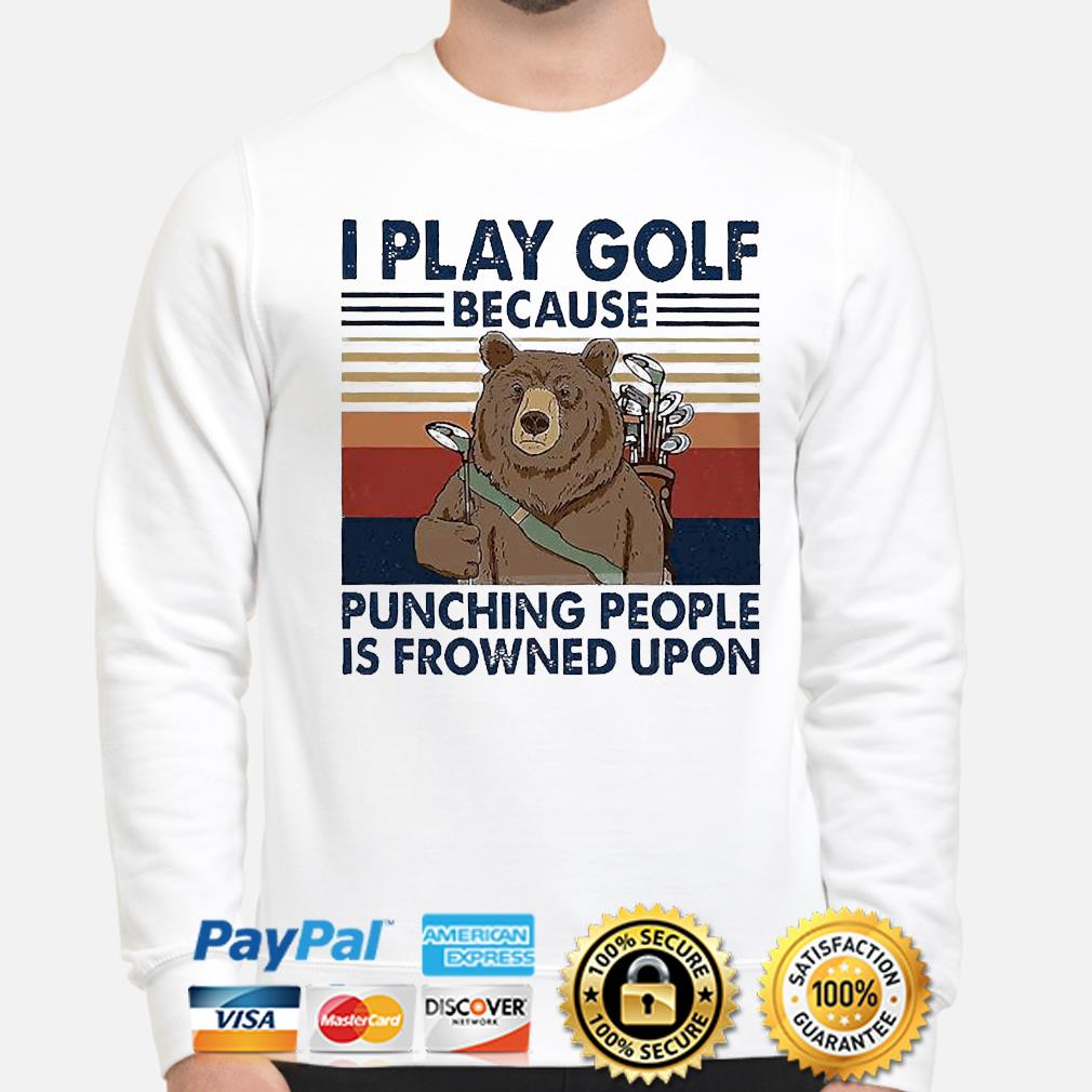 Official Bear I play golf because punching people is frowned upon vintage shirt