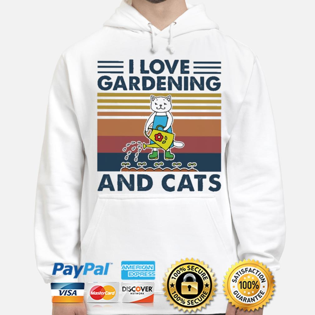 Official I love gardening and Cats vintage s hoodie