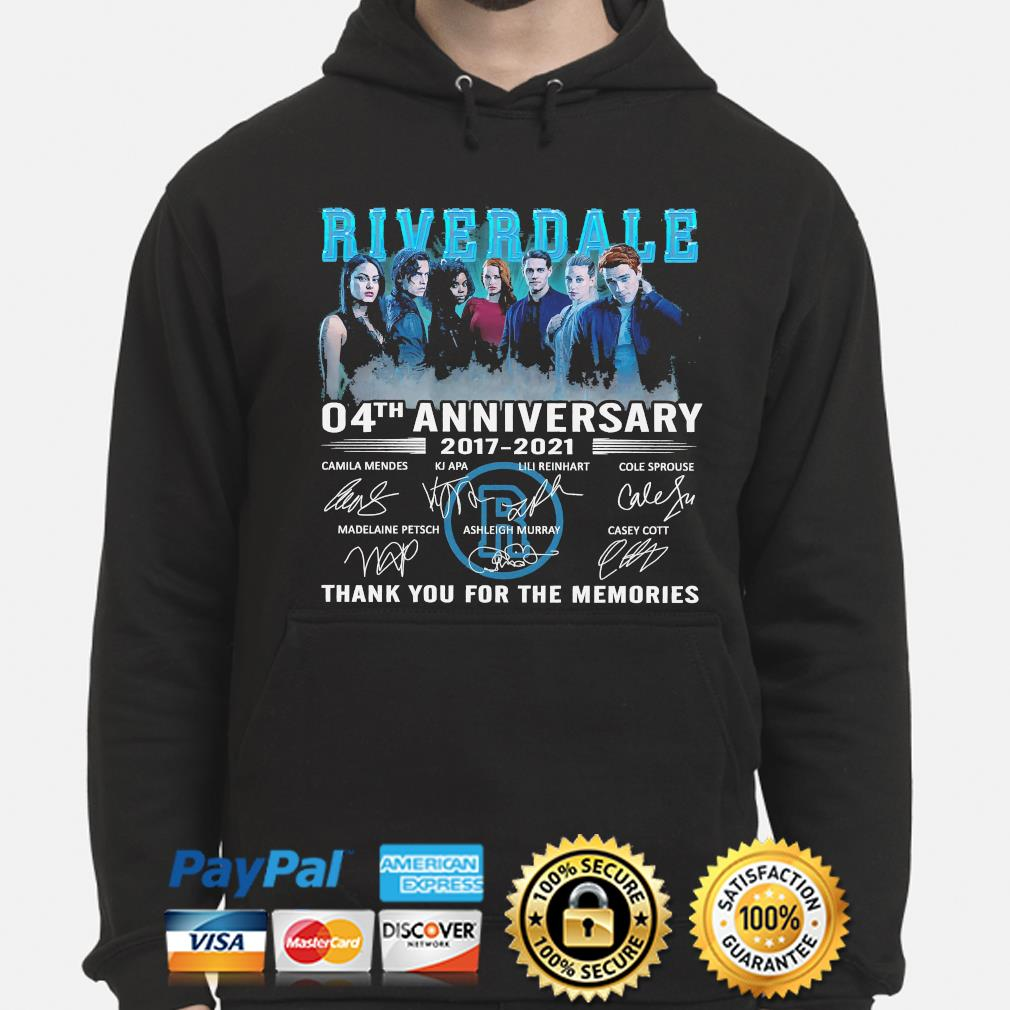 Official Riverdale 04th anniversary thank you for the memories signatures s hoodie