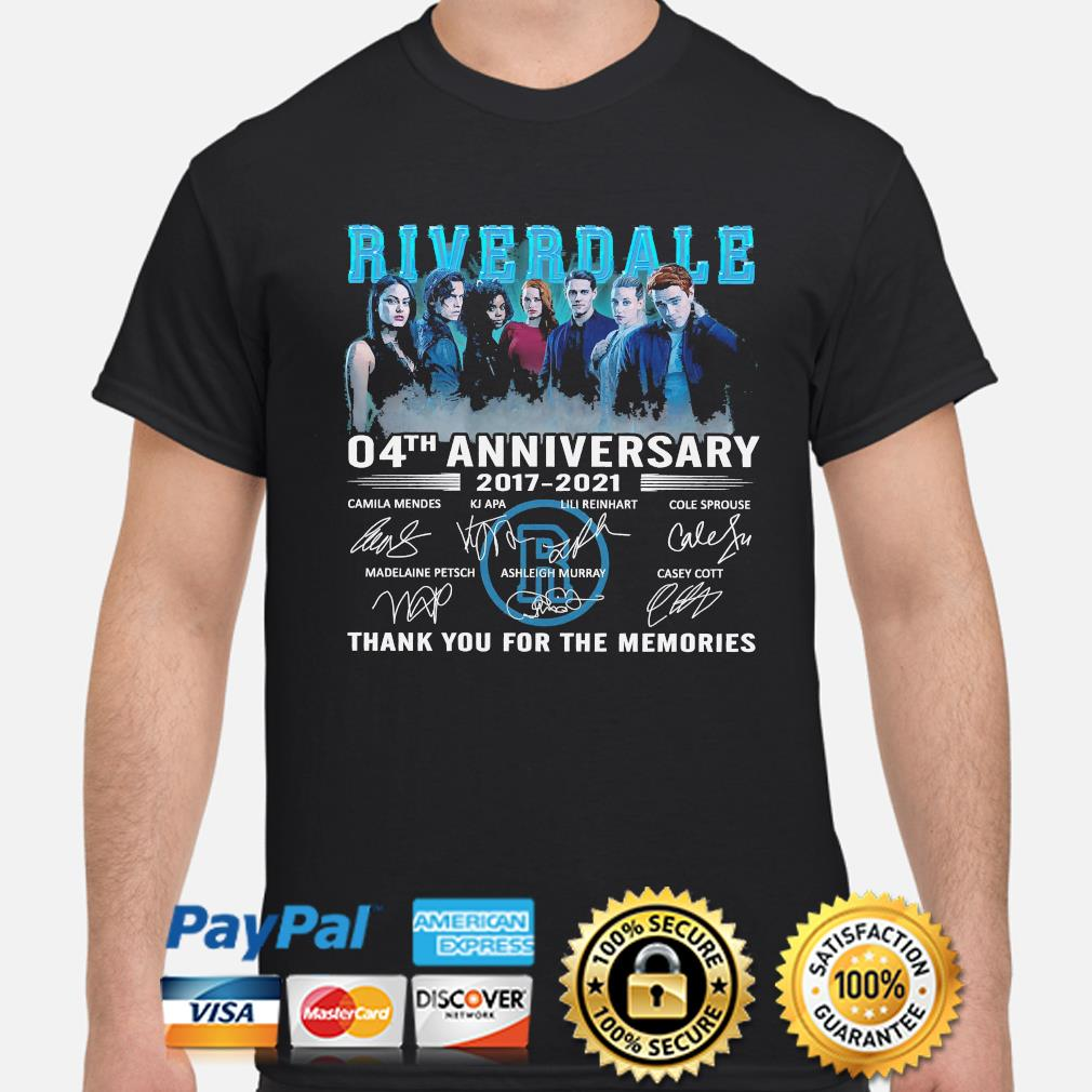Official Riverdale 04th anniversary thank you for the memories signatures shirt