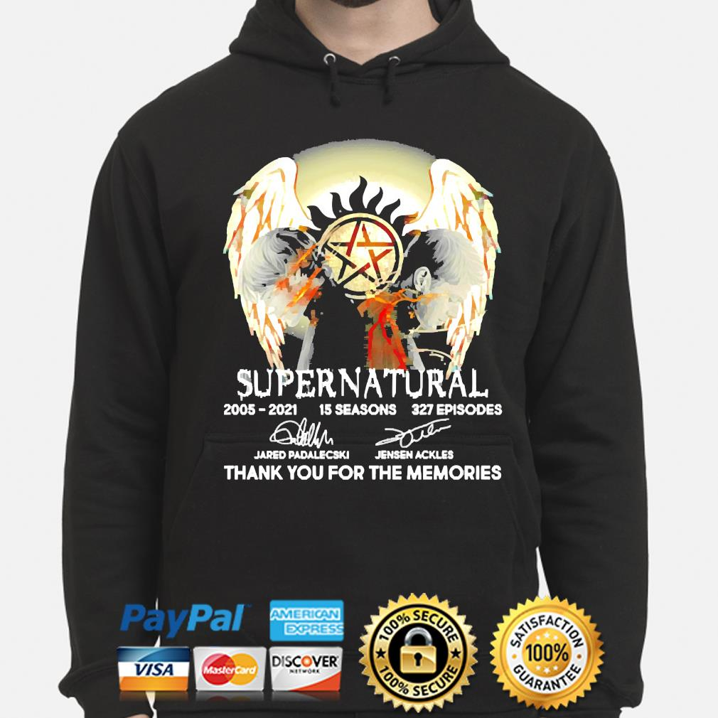 Supernatural 15 seasons 327 episodes thank you for the memories signatures t-s hoodie