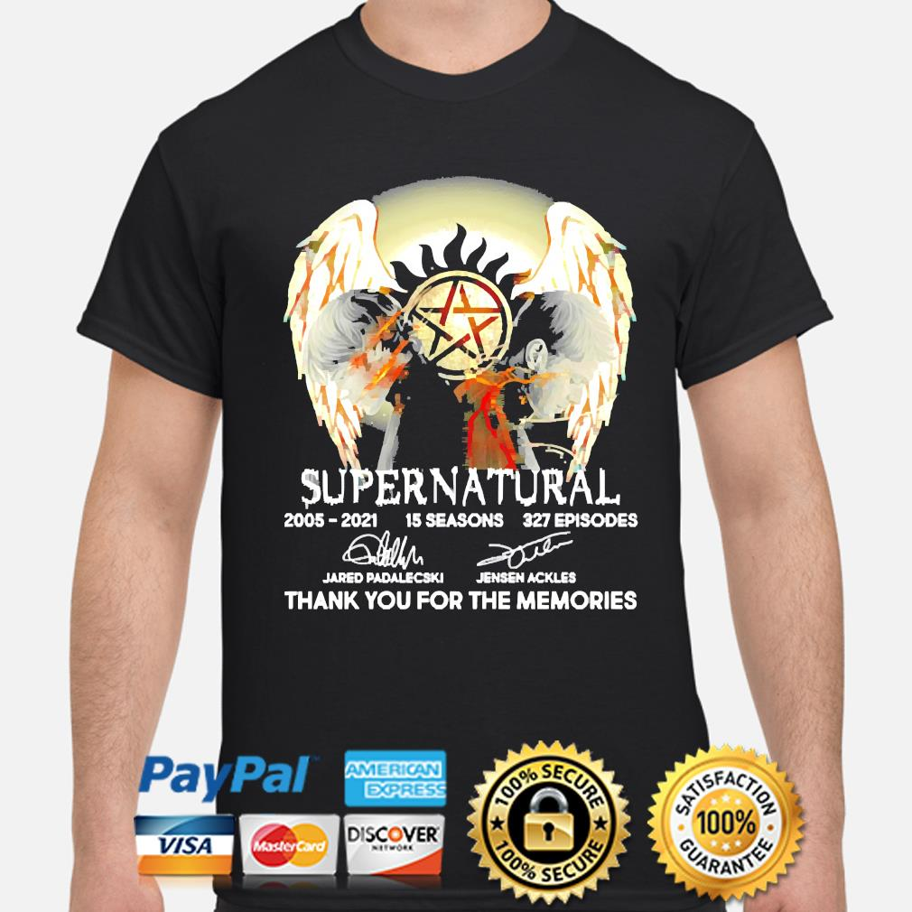 Supernatural 15 seasons 327 episodes thank you for the memories signatures t-shirt