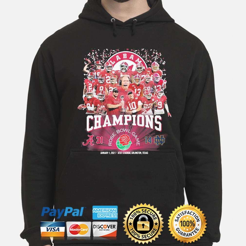 The Alabama Crimson Champions Rose Bowl Game january 1 2021 s hoodie